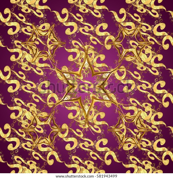 Elegant classic pattern. Seamless abstract background with repeating elements. Purple and golden pattern.