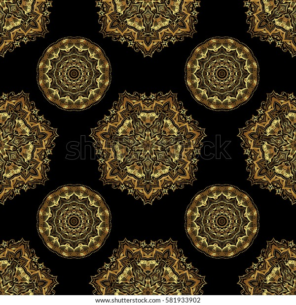 Elegant classic seamless pattern. Seamless abstract ornament on black background with repeating elements. Black and golden pattern.