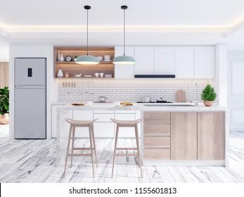 Elegant contemporary kitchen room interior,emptry space ,3drender
