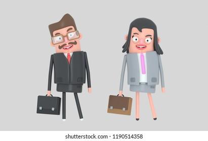 Elegant couple business. Business people. Partners. 3d illustration