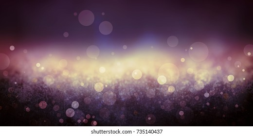 elegant dark purple and gold bokeh lights background, falling rain or blurred falling snowflakes in a classy yellow striped center and black border design