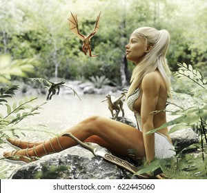 Elegant Elven blonde female relaxing by a mythical forest pond with her baby dragons. Fantasy mythical 3d rendering