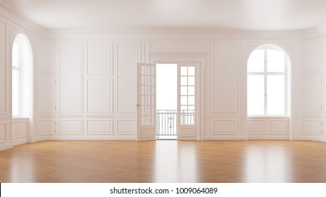 Elegant empty room in old building with double doors to the balcony (3D Rendering)