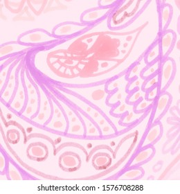 Elegant Ethnic Floral Pattern. Islamic Background. Elegant Bohemian Fashion. Batik Indonesia. Folk Flowers Pattern. Pale Persian Background. Pastel Batik Texture. Bohemian Textile.