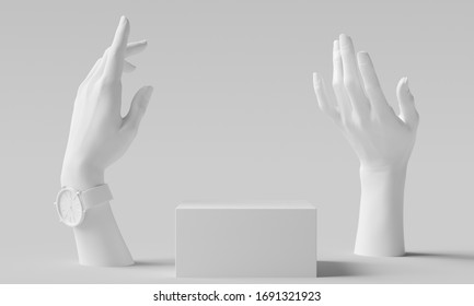 Elegant female hand gesture white sculpture, woman accessories art jewelry background, mannequin hands and product display podium, 3d rendering