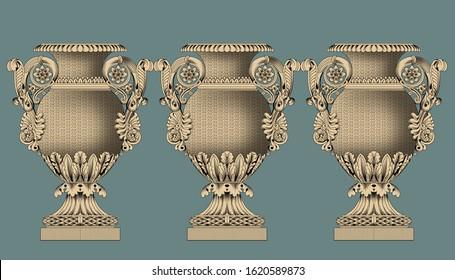 Elegant floral decorative vase design.