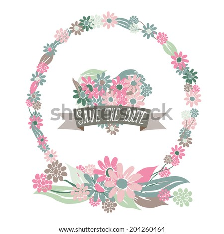 elegant floral frame heart save date stock illustration 204260464