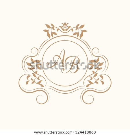 elegant floral monogram design template one stock illustration