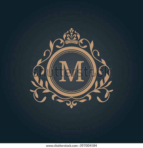 Elegant Floral Monogram Design Template One Stock