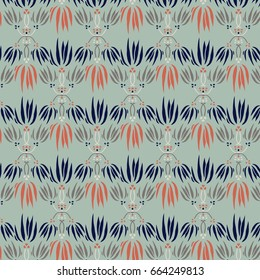 Elegant Floral Motif Repeat Pattern in Blue, Green, and Orange and Brown