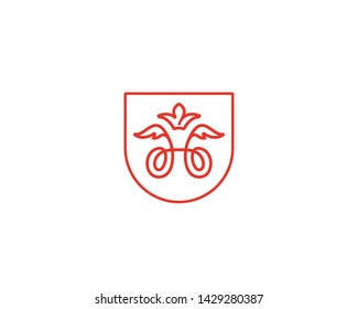Elegant flower crown shield logo icon. Universal premium coat of arms logotype.