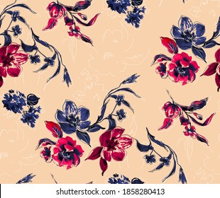 Elegant flower design , seamless textile print pattern