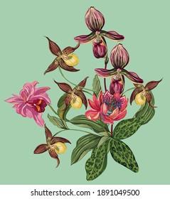 elegant flowers vintage style design for print