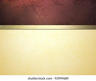 elegant formal background with burgundy red sponge texture and white cream parchment paper with gold ribbon stripe and vintage grunge texture with copy space