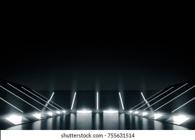 Elegant futuristic light and reflection background. 3D rendering.