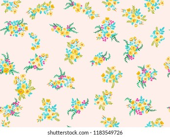 Elegant gentle trendy pattern in small-scale flower. Millefleurs. Liberty style. Floral seamless background for textile, cotton fabric, covers, manufacturing, wallpapers, print, gift wrap