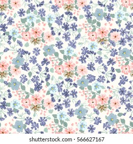 Elegant gentle trendy pattern in small-scale flower. Millefleurs. Liberty style. Floral seamless background for textile, cotton fabric, wallpapers, print, gift wrap and scrapbooking. Raster copy.