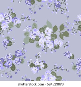 Elegant gentle trendy pattern in small-scale flower. Millefleurs. Liberty style. Floral seamless background for textile, fabric, covers, surface, print, gift wrap and scrapbooking. Raster copy.