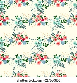 Elegant gentle trendy pattern in small-scale flower. Millefleurs. Liberty style. Floral seamless background for textile, fabric, covers, wallpapers, print, gift wrap and scrapbooking. Raster copy.