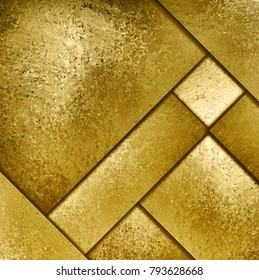 elegant gold background with abstract material design layers of metal plate with dark lines in intersecting pattern, fancy golden luxury backdrop