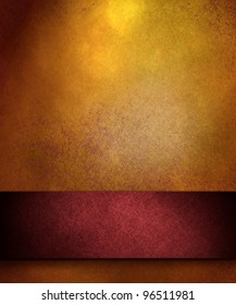 elegant gold distressed background with texture and highlight, rich red ribbon stripe in graphic art design layout for copy space to add your own text or title