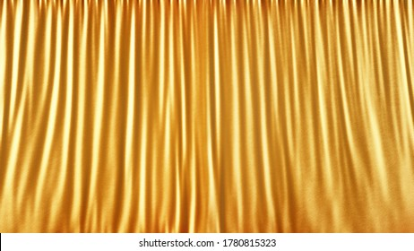 Elegant gold stage cloth curtain abstract background. Gold satin or silk background. Light gold fabric curtain. 3d rendering.