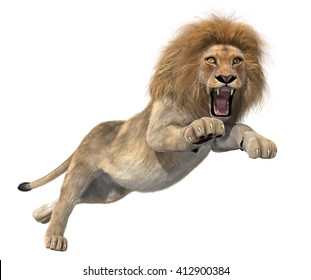 Elegant golden lion jumping with open mouth. 3d illustration