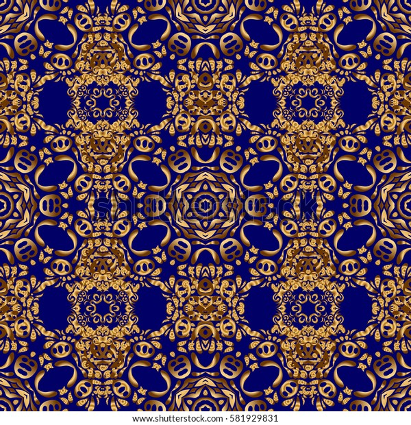 Elegant golden ornament with gold stars, filigree decor on ornate blue background. Luxury floral seamless pattern, button-tufted texture, ornate elements in vintage style.