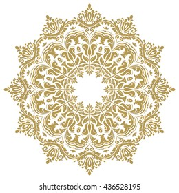 Elegant golden ornament in the style of barogue. Abstract traditional round pattern with oriental elements