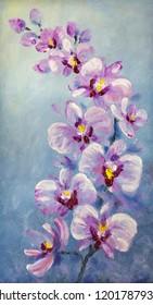 Elegant gouache brushstrokes summer design. Bright rose romantic hand drawn acrylic etude on light blue paper sketchy in retro spot style. Delicate big vibrant lilac color paint aloha orchidea bush