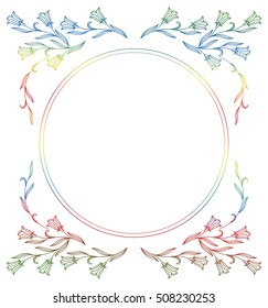 Elegant gradient frame with bluebells. Round frame suitable for different greeting cards, invitations, backgrounds, prints. Raster clip art