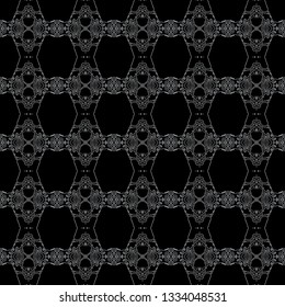Elegant graphic seamless pattern. Symmetrical subtle ornament in dark colors. Graphic seamless pattern for use in web and digital design, craftworks and fashion products.