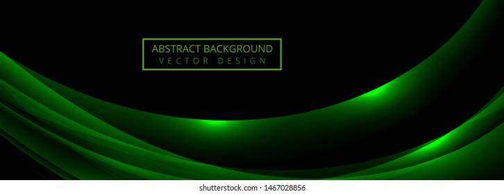 Elegant green wave banner template vector