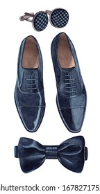 Elegant groom shoes with jewel cufflinks and bow tie