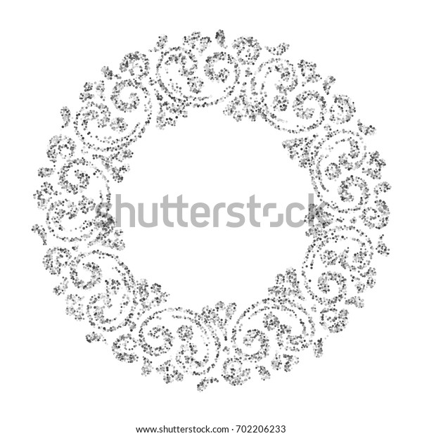 Elegant hand drawn retro floral frame on white background. Silver dust textured design template for banner, card, invitation, label, emblem etc. Lineart vintage border.
