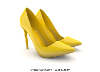 Elegant high heels. Yellow shoes for women. 3d render