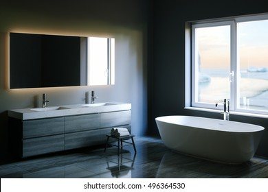 Elegant hi-tech bathroom with a big window. 3d render