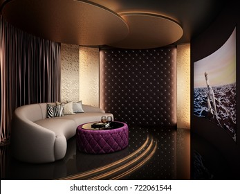 Elegant home theater room 3D render
