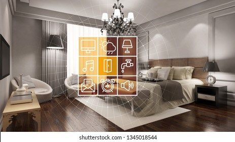 Elegant hotel room with smart home technology interface for control and personalization (3D Rendering)