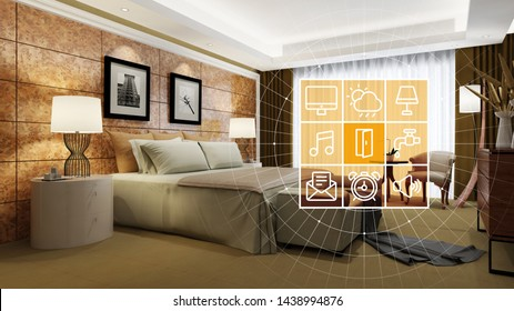 Elegant hotel room with smart home technology interface for personalization and control
