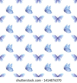 Elegant indigo butterflies raster seamless pattern. Beautiful blue insects watercolor painting. Hand drawn winged bugs backdrop. Vintage wallpaper, textile design. Abstract entomological texture