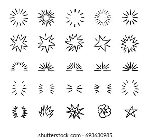 Elegant ink brush circle bursts and whimsical borders. Hand drawn bursting decoration. Starburst badge icon, illustration of star burst linear of set