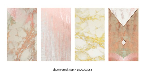 Elegant instagram stories feminine background set: white marble and grey wood textures with pink rosegold and golden glitter metallic foil effect. Perfect for high end products marketing or wallpaper.