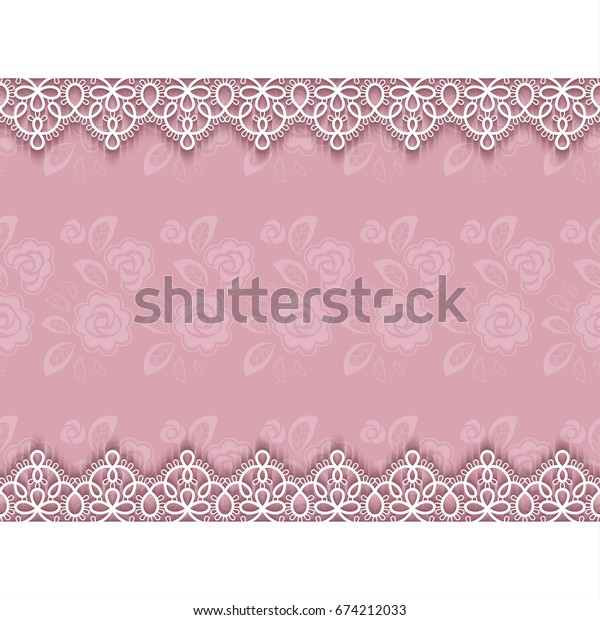 Elegant invitation or greeting card template with lace borders. Illustration