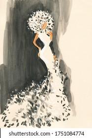 elegant lady. fashion illustration. watercolor painting