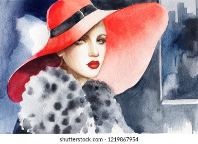 elegant lady with hat. beautiful woman. fashion illustration. watercolor painting