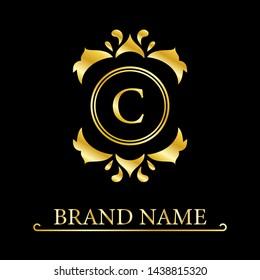 Elegant letter C. Graceful royal style. Calligraphic beautiful logo. Vintage drawn emblem for book design, brand name, business card, Restaurant, Boutique, Hotel.  illustration