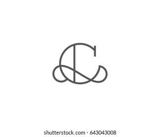 Elegant line curve logotype. Premium letter C logo design. Luxury linear creative monogram.