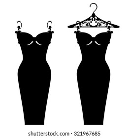elegant little black dress design - beautiful gown on the hanger monochrome silhouette