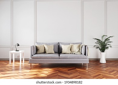 elegant living room interior with single vintage sofa in front of white wall; copy space; 3D Illustration
